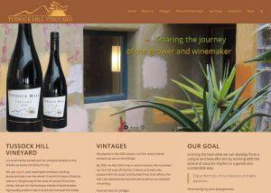 screencapture of Tussock Hill Vineyard website