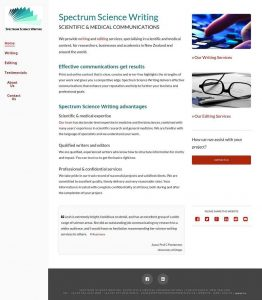 Spectrum Science Writing Home page