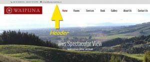 The header of a website