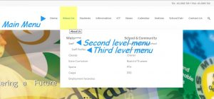 website navigational menu