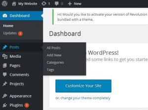 Wordpress Dashboard showing Posts