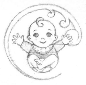 pencil sketch of a baby