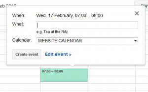 Google calendar event entry