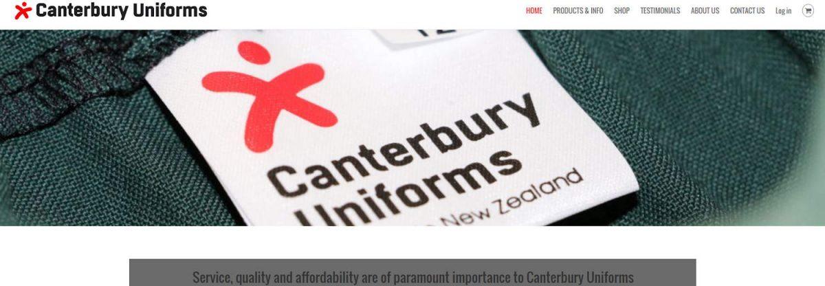 Canterbury Uniforms website project