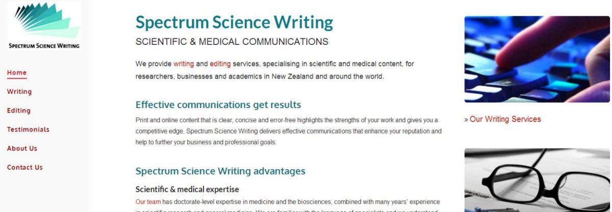 Spectrum Science Writing web design project