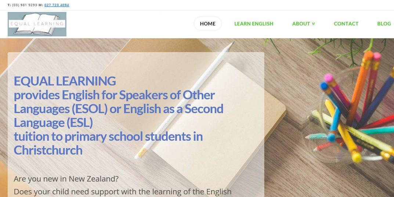 Website design for Equal Learning English Language learning website