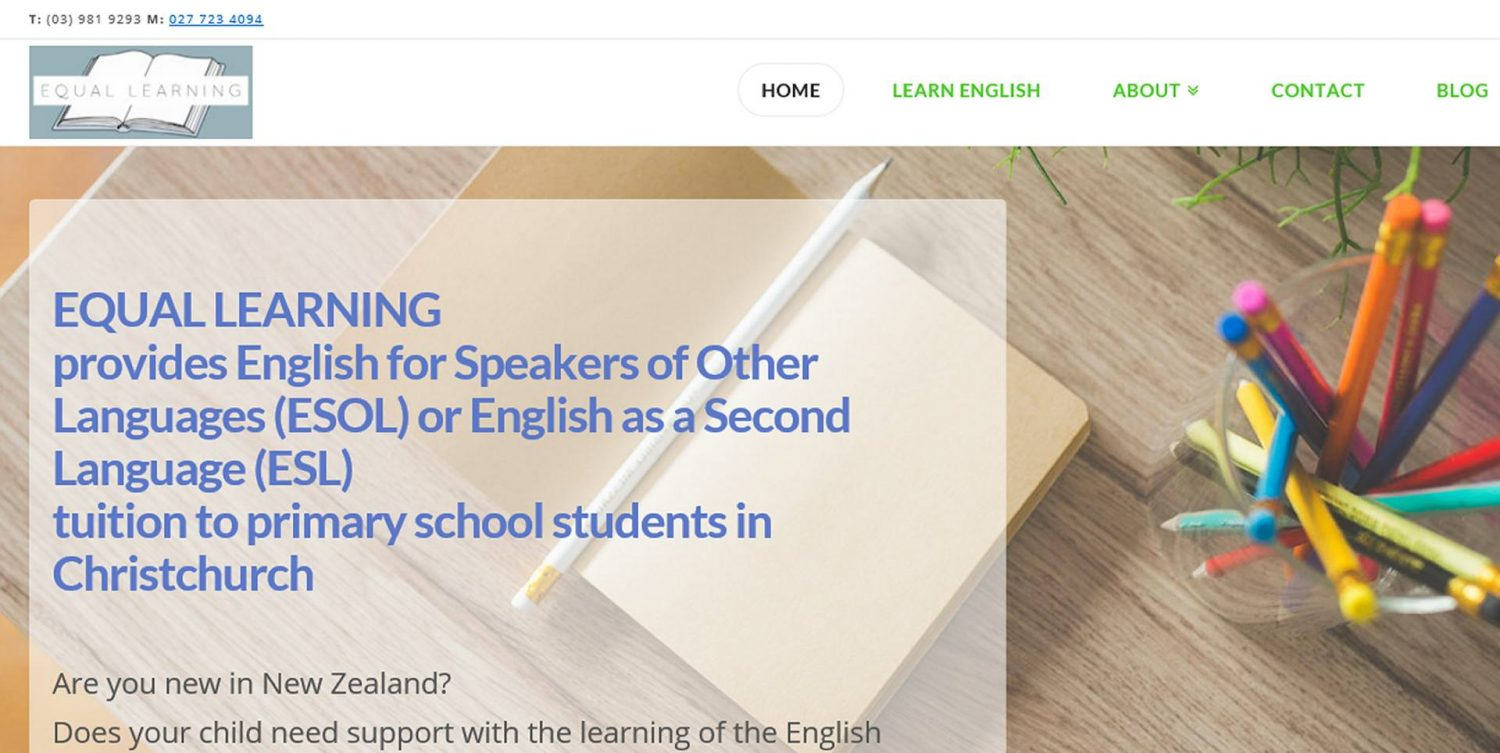 Website design for Equal Learning English Language learning website