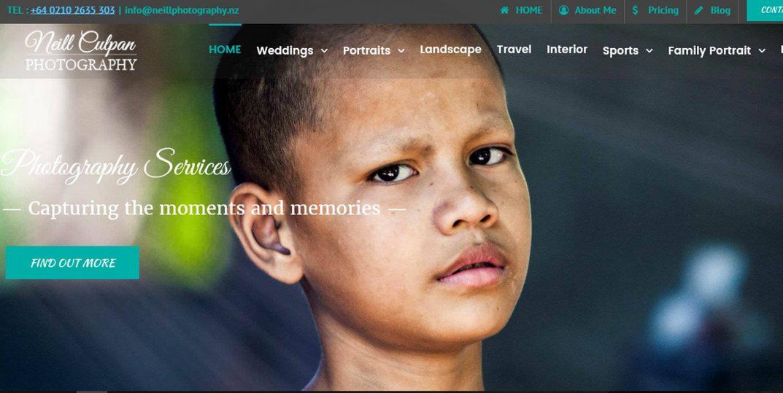 Webdesign for Neill Photography website showcasing his photography portfolios