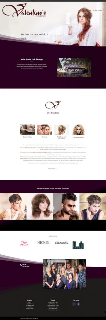 Webdesign for hair salon website