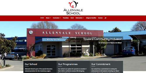 Screenshot of Allenvale School website
