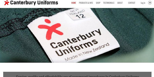 Screenshot of Canterbury Uniforms website
