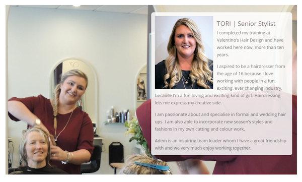 Webdesign for Hair Salon, showing team member