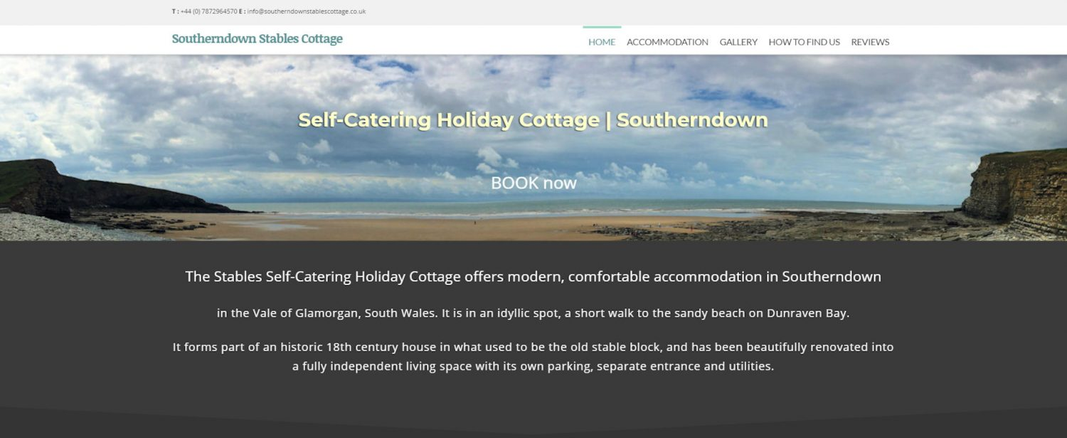 screenshot of The Stables Holiday Cottage website
