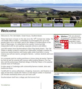 screenshot of old Stables Holiday Cottage website