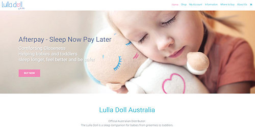 Screenshot of Lulla Doll Australia website