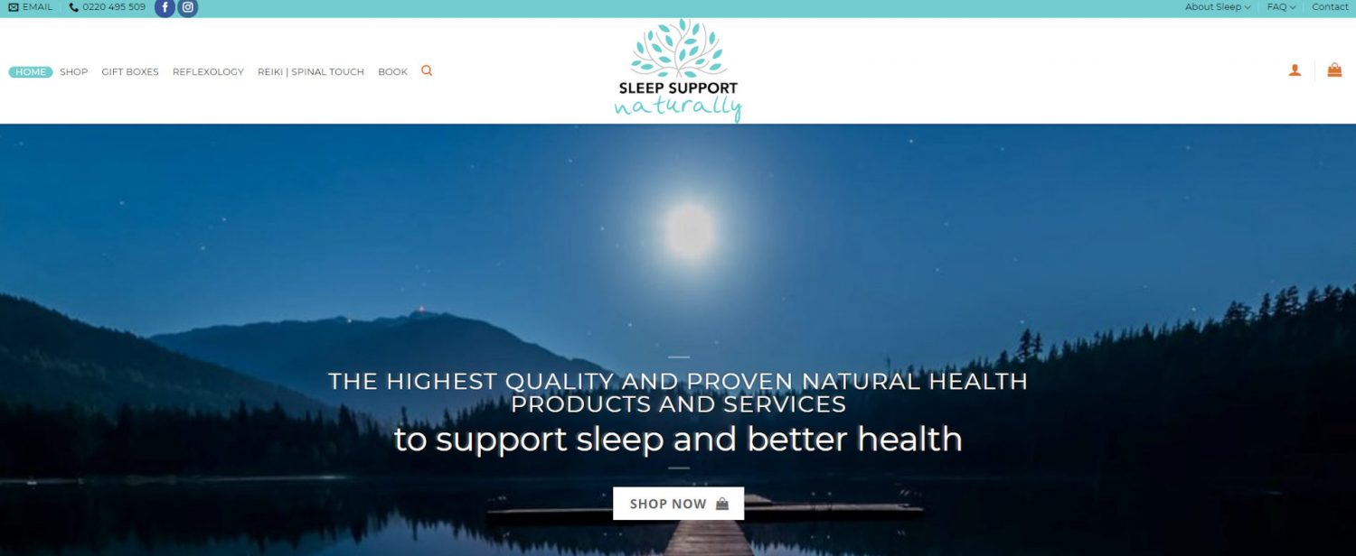 Screenshot of Sleep Support eCommerce website