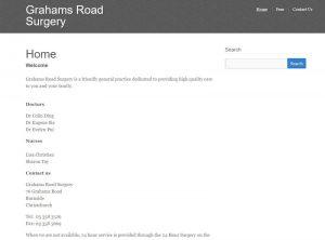 screenshot of old medical practice website
