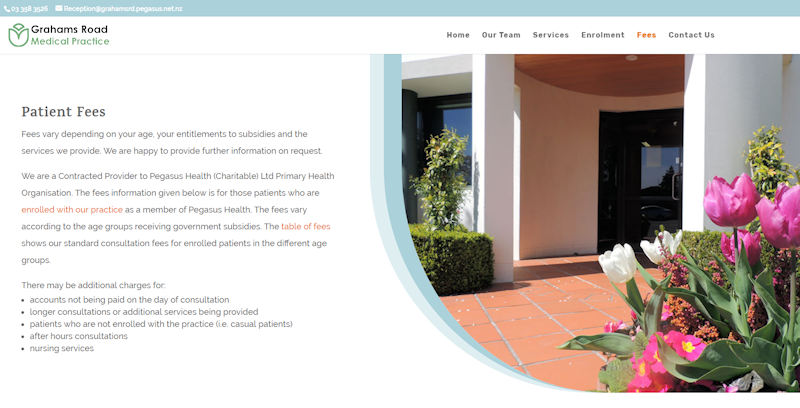 a page of the medical practice website