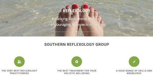 Screenshot of Southern Reflexology Group website